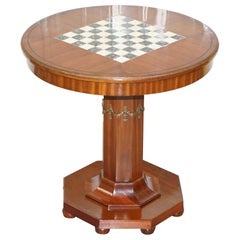 Fully Restored French Empire Mahogany Chess Table Marble Ormolu Mount circa 1900