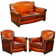Fully Restored Whisky Brown Leather Sofa & Pair of Armchairs Suite, circa 1900
