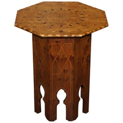 Islamic Marquetry Inlaid Walnut Octagonal Side End Lamp Wine Table, circa 1900