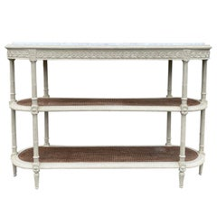 Circa 1900 Louis XVI Style Marble Top 3 Tiered Console, White Carrara Marble Top