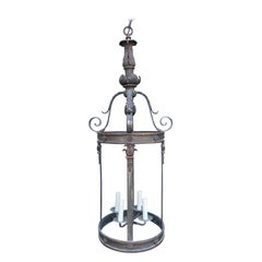 Circa 1900 Neoclassical Fire Gilded Bronze 4 Light Lantern with Gold Accents