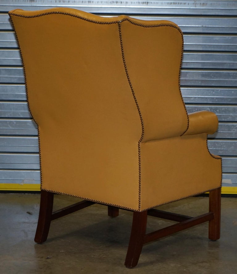 Restored Large Wingback Armchair in Mustard Tan Leather Upholstery, circa 1900 For Sale 6