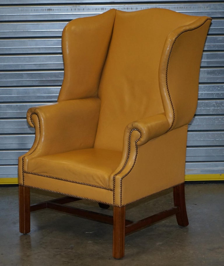Late Victorian Restored Large Wingback Armchair in Mustard Tan Leather Upholstery, circa 1900 For Sale