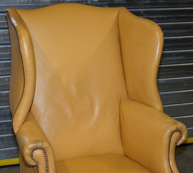 Hand-Crafted Restored Large Wingback Armchair in Mustard Tan Leather Upholstery, circa 1900 For Sale