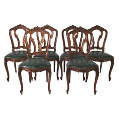 Set of Six Carved French Style Walnut Chairs with Green Leather Seats circa 1900