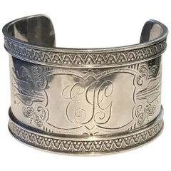 Circa 1900 Sterling Silver Engraved Cuff Bracelet