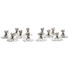 Sterling Silver Musical Chair Place Card Holders Set, circa 1900