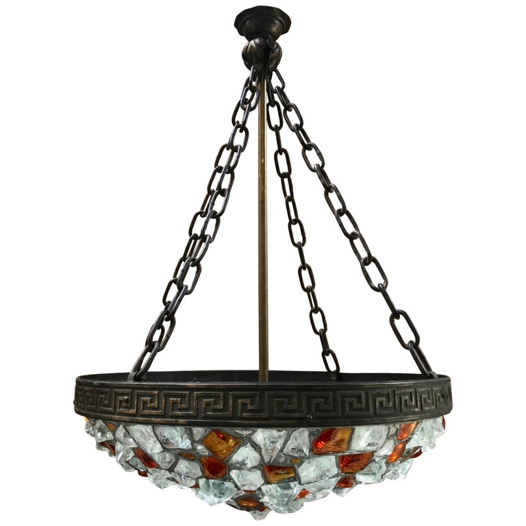 Swedish Glass and Bronze Jugendstil Light Fixture, circa 1900  For Sale