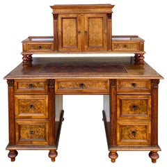 Victorian Burl Neoclassical Style Walnut and Tooled Leather Desk, circa 1900