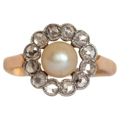 Victorian 18 Karat Gold Pearl Ring with Rose Cut Diamond Halo, circa 1900s
