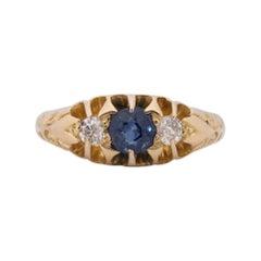 Circa 1900's Victorian 18k Yellow Gold Diamond and Sapphire Three Stone Ring