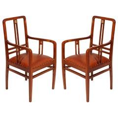 Pair of Wiener Werkstätte Armchairs Restored Re-Upholstered Leather, circa 1905