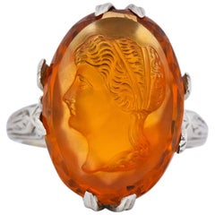 Edwardian Citrine Cameo 18 Karat White Gold Ring, circa 1910