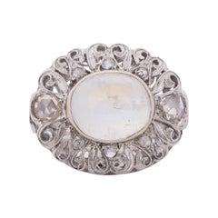 Circa 1910's Edwardian 18k 5ct Moonstone Antique Filigree Diamond Statement Ring
