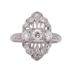 Circa 1910's Edwardian Platinum and Diamond Vintage Shield Ring
