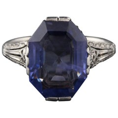 Edwardian Platinum Ceylon Unheated Sapphire and Diamond Cocktail Ring