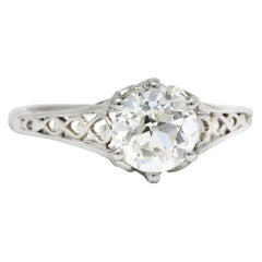 Edwardian 1.13 Carat Diamond Platinum Engagement Ring GIA, circa 1915