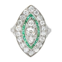 Edwardian 2.95 Carat Diamond Emerald Platinum Dinner Ring, circa 1915