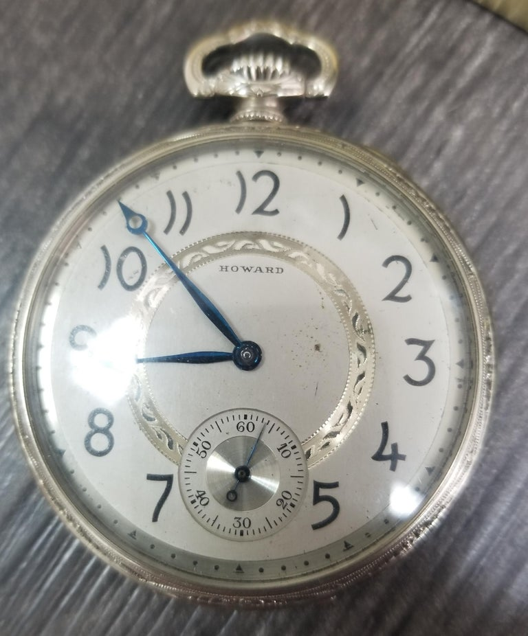 Mechanical hand winding - White Gold Plated Brand: E. Howard Temperature Keystone Extra White Gold plated Model: pocket watch  Gender: Men Period: 1901-1949 Movement: Mechanical hand winding Case material: White Gold Plated Case   #