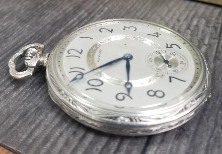 Art Deco E. Howard 17 Jewels 3 Positions White Gold Filled Pocket Watch, circa 1917 For Sale