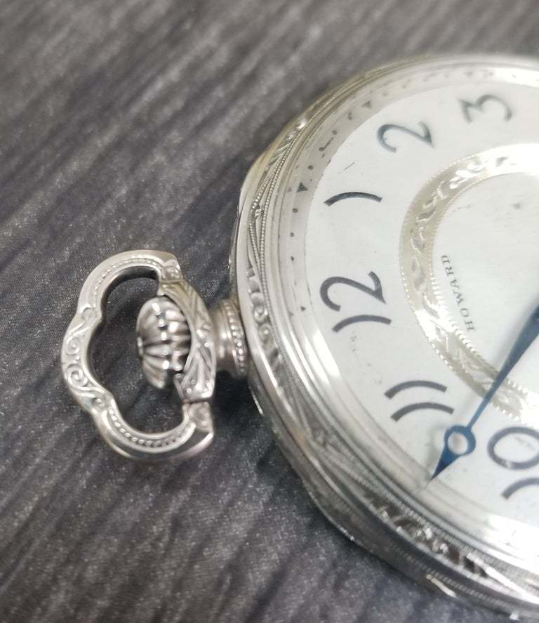 E. Howard 17 Jewels 3 Positions White Gold Filled Pocket Watch, circa 1917 In Excellent Condition For Sale In Los Angeles, CA