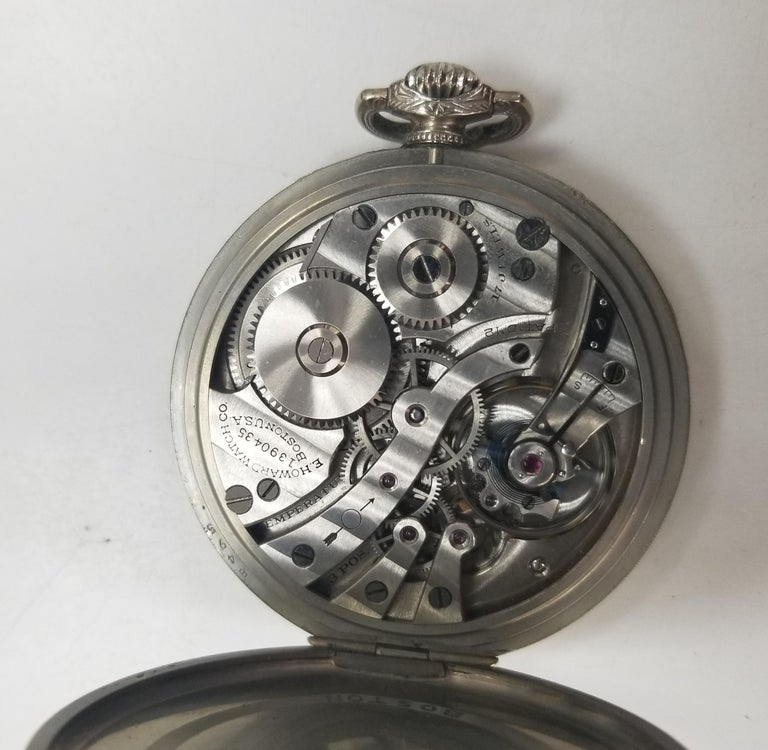 Women's or Men's E. Howard 17 Jewels 3 Positions White Gold Filled Pocket Watch, circa 1917 For Sale