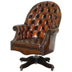 Art Deco Chesterfield Barrel Brown Leather Directors Captains Chair, circa 1920