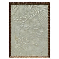 Art Deco Embossed Leather Panel with Applied Silver Leaf, circa 1920