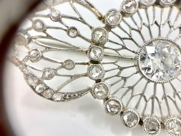 Women's or Men's Edwardian White Gold Diamond Filigree Brooch, circa 1920 For Sale