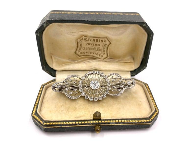 Edwardian White Gold Diamond Filigree Brooch, circa 1920 For Sale 3