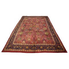 Circa 1920 Oversized Antique English Wool Donegal Carpet, Red Field