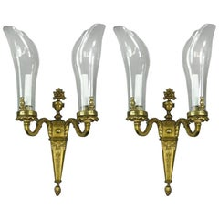 Pair of French Bronze and Glass Shade Sconces '2 Pair Available', circa 1920