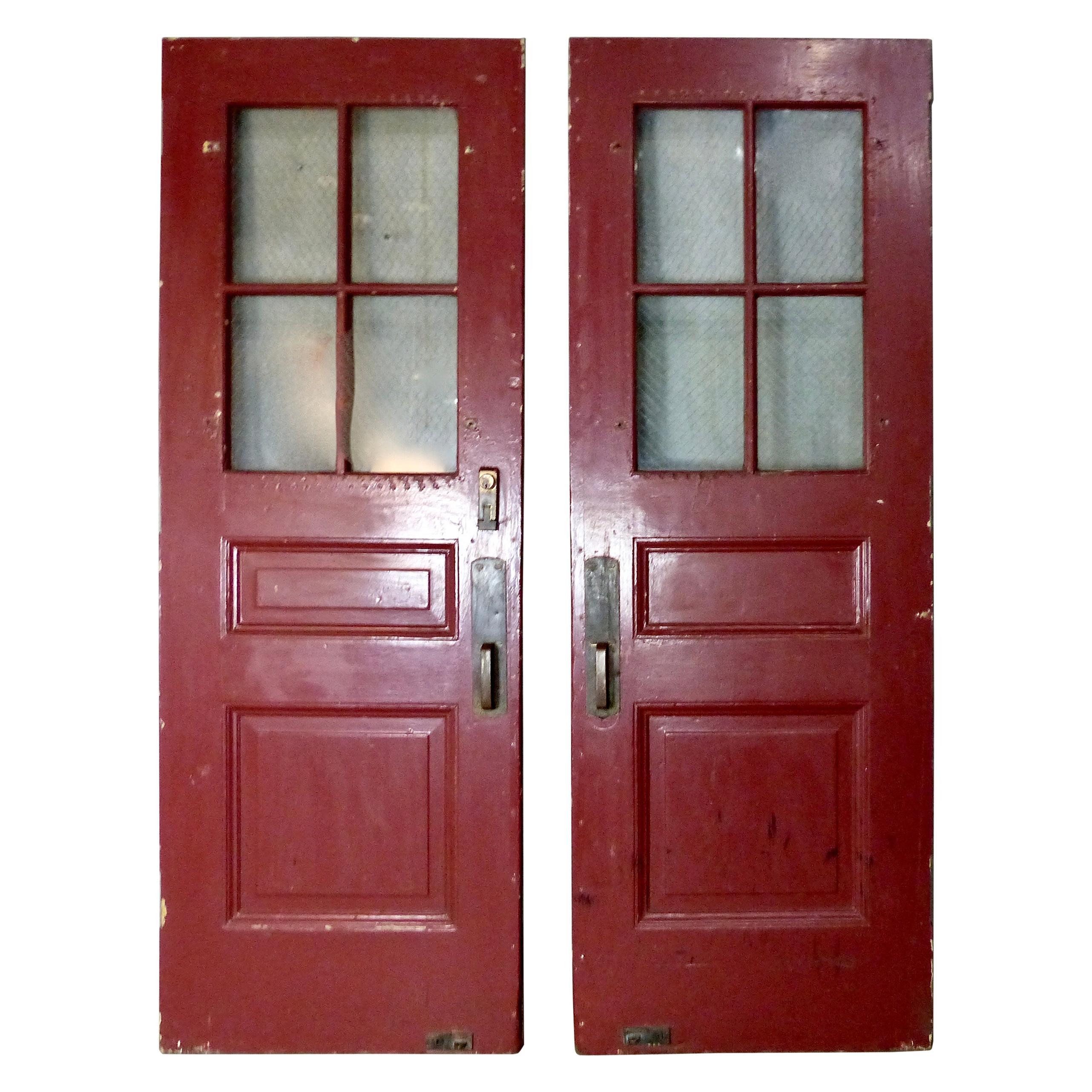 Pair of Solid Oak Exterior Doors, circa 1920