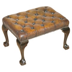 circa 1920 Restored Claw & Ball Feet Cigar Brown Leather Chesterfield Footstool