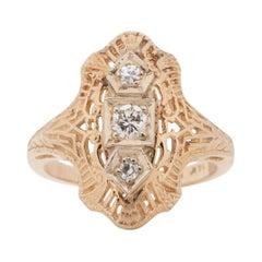 Circa 1920's 14k Yellow Gold Vintage Three Stone Shield Ring