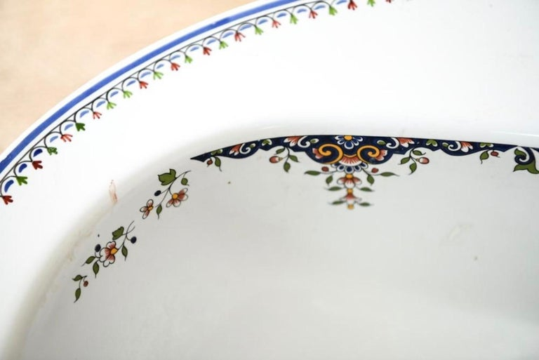 Hand-Painted Jacob Delafon Wash Bowl, circa 1920s-1930s For Sale