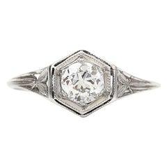 Art Deco .45 Carat Old European Cut Diamond Platinum Engagement Ring circa 1920s