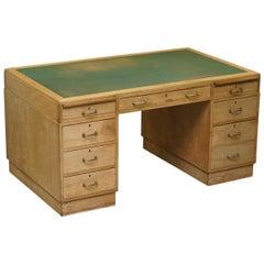 Art Deco Walnut Twin Pedestal Partner Desk Green Leather Surface, circa 1920s