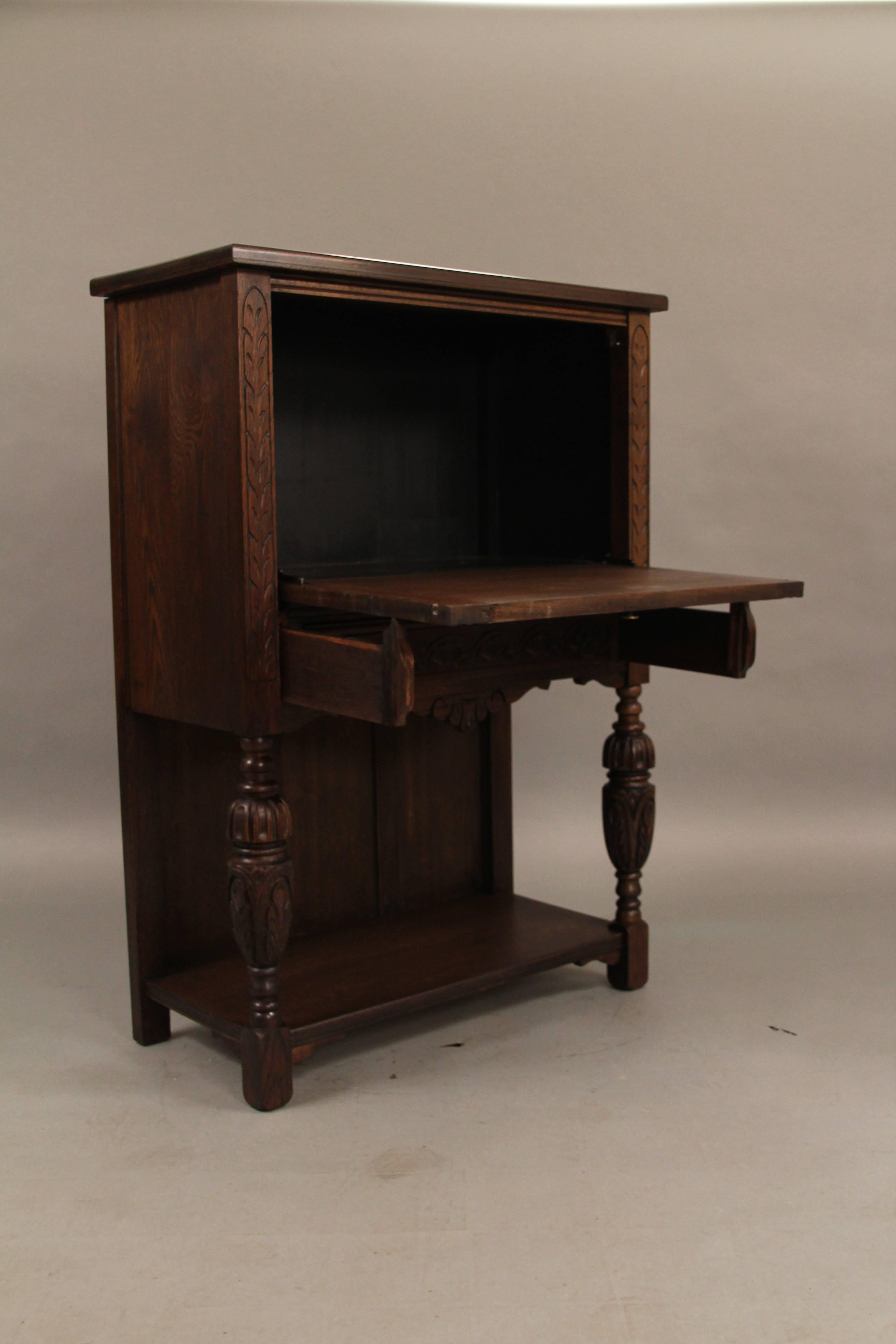Carved Walnut Cabinet/ Writing Desk From The Angelus Furniture Co, Circa  1920s For Sale At 1stdibs