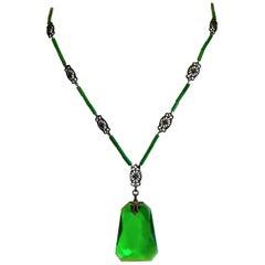 Circa 1920s Deco Era Green Faceted Glass Pendant Necklace