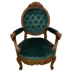 Rams Head French Arm Bergere Chair, Cameo Tufted Back, circa 1920s