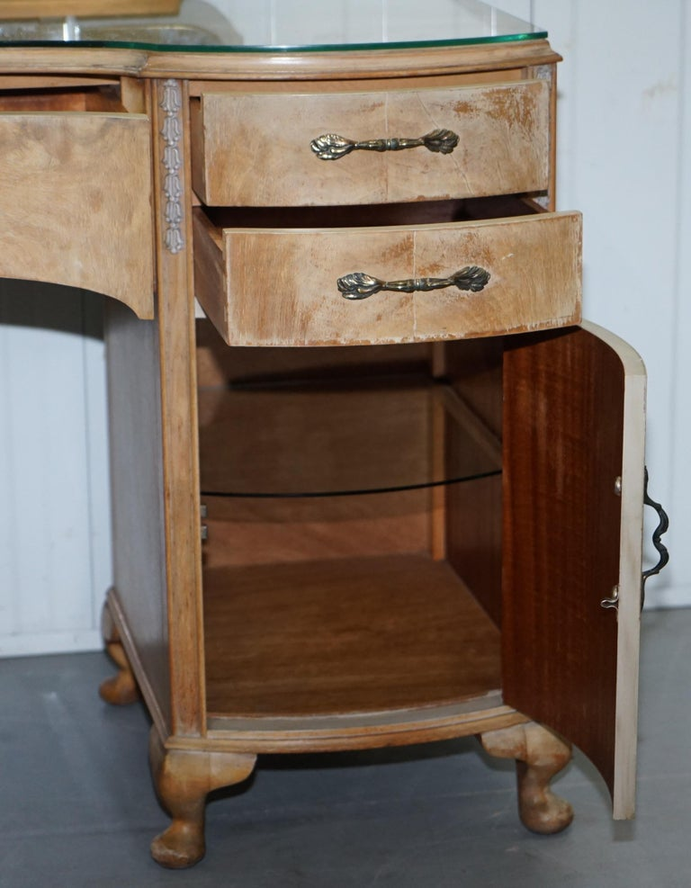 Dressing Table With Mirror And Stool: Walnut Kidney Dressing Table And Stool Set With Tri