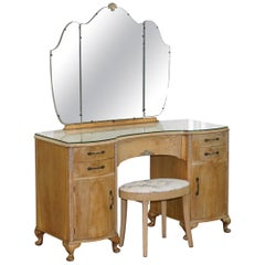 Walnut Kidney Dressing Table & Stool Set with Tri-Folding Mirror, circa 1920s