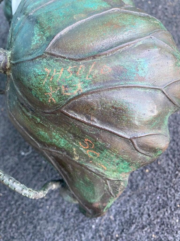 Japanese Bronze Lotus Bowl, Marked