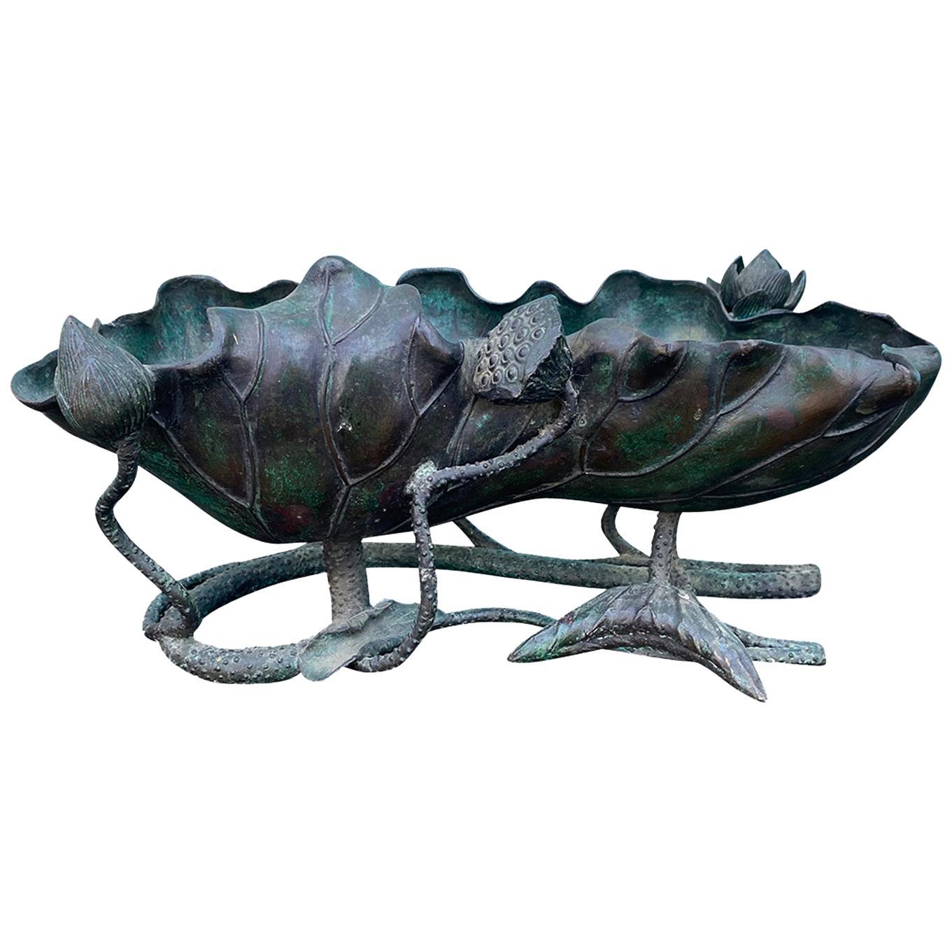 """Japanese Bronze Lotus Bowl, Marked """"Made in Japan"""" Circa 1922-1940"""