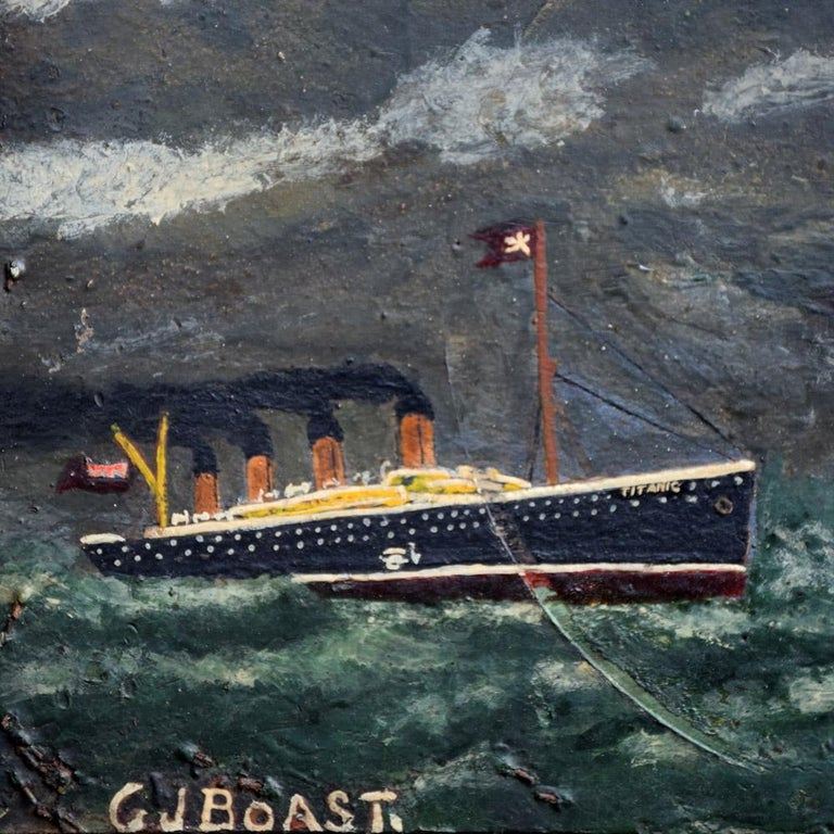 Hand-Painted Folk Art Naïve Oil on Board Painting of the Titanic, circa 1922 For Sale