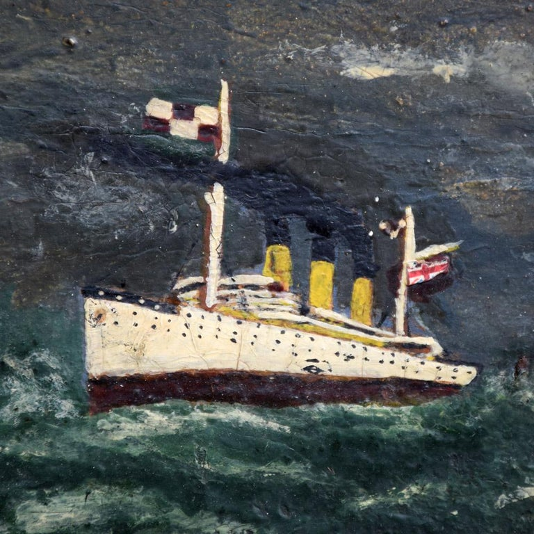 Folk Art Naïve Oil on Board Painting of the Titanic, circa 1922 In Fair Condition For Sale In London, GB