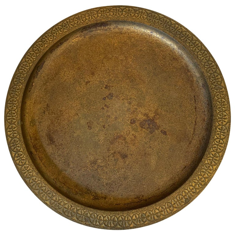 American Tiffany Studios Gilt Bronze Plate, Model 1747, Marked, circa 1925 For Sale