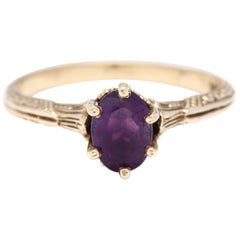 Art Deco 14 Karat Gold and Purple Amethyst Engraved Solitaire Ring, circa 1930