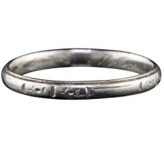 Art Deco Platinum Engraved Wedding Band, circa 1930